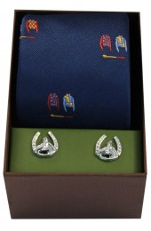 Navy Jockey  Suits Tie Cufflink Set