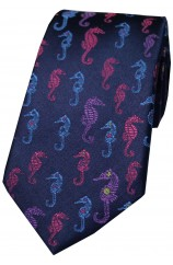 Posh And Dandy Navy Multi Coloured Sea Horses Silk Tie