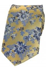 Posh & Dandy Gold Ground Navy Blue Flowers Silk Tie