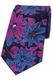 Posh & Dandy Purple And Blue Large Flowers Silk Tie