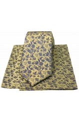 Soprano Gold With Small Blue Flowers Silk Tie & Hanky
