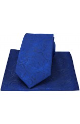 Soprano Blue Ground With Paisley Luxury Silk Tie And Hanky