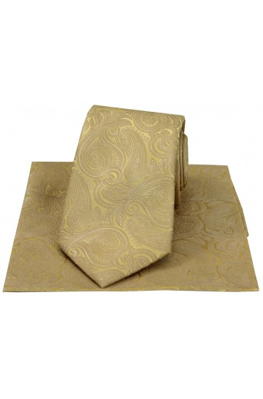 Soprano Champagne Gold Paisley Silk Tie And Hanky Set
