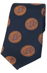 Bitcoin Dark Navy And Gold Logo Silk Tie