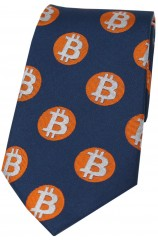 Bitcoin Mid Blue Orange And White Logo Silk Tie
