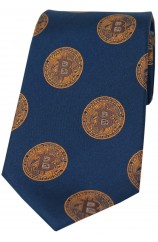 Bitcoin Navy And Gold Logo Silk Tie