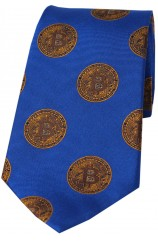 Bitcoin Royal And Gold Logo Silk Tie