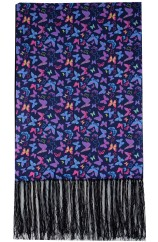 Soprano Multi Coloured Butterflies On Navy Ground  Wool And Silk Mix Luxury Men's Silk Scarf