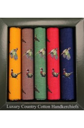Soprano 5 Colour Pheasant Patterned Cotton Hanky Set