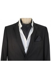Soprano Silk Twill Grey Polka Dots On Black Ground Cravat