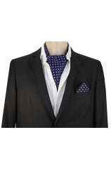 Soprano Silk Twill White Polka Dots On Navy Ground Cravat