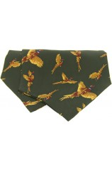 Soprano Silk Twill Flying Pheasants Cravat On Green Ground