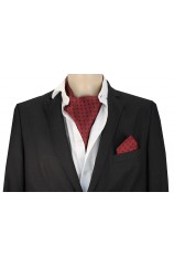 Soprano Silk Wine With Navy Polka Dot Cravat