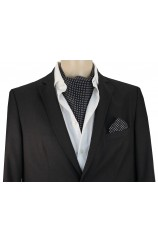 Soprano Silk Pin Dot Black and White Cravat