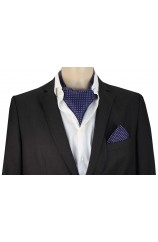 Soprano Silk Pin Dot Lilac and Navy Cravat