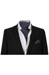 Soprano Silk Pin Dot White and Navy Cravat