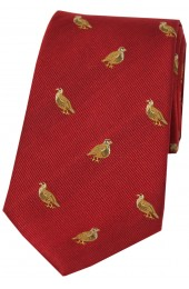 Soprano Grouse On Red Ground Country Silk Tie