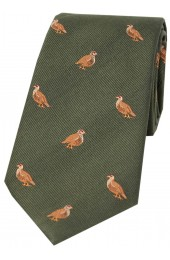 Soprano Grouse On Green Ground Country Silk Tie