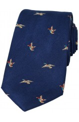 Soprano Flying Ducks On Blue Ground Country Silk Tie