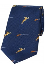 Soprano Hares and Shotguns On Blue Ground Country Silk Tie