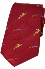 Soprano Hares and Shotguns On Red Ground Country Silk Tie