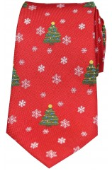 Red Christmas Themed Woven Silk Tie