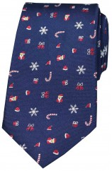 Navy Christmas Themed Woven Silk Tie