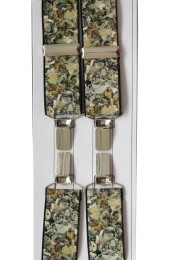 Camouflage Patterned 35mm Elastic X Back 4 Clip Trouser Braces