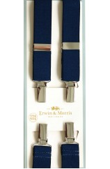 Erwin & Morris Made in UK Plain Navy 25mm Nickel 4 Clip Braces