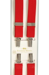 Erwin & Morris made in UK  Plain Red 25mm  Nickel  4 Clip Braces