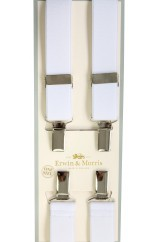 Erwin & Morris made in UK  Plain White 25mm Nickel  4 Clip Braces