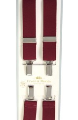 Erwin & Morris made in UK  Plain Wine 25mm Nickel  4 Clip Braces