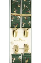 Erwin & Morris made in UK  Green Fowl 35mm Gilt Feathered 4 Clip Braces