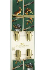 Erwin & Morris made in UK Green Gun Dogs 35mm Gilt Feathered 4 Clip Braces