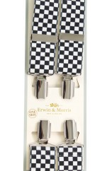 Erwin & Morris made in UK  Black & White checkerboard  Neat Fashion 35mm Nickel Feathered 4 Clip Braces