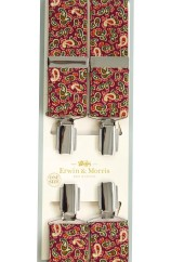 Erwin & Morris made in UK  Wine Paisley 35mm Nickel Feathered 4 Clip Braces