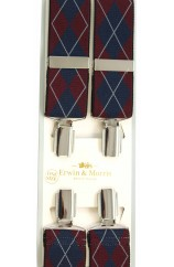 Erwin & Morris made in UK Burgundy and Navy  Diamond check Fashion 35mm Nickel Feathered 4 Clip Braces