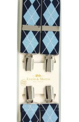 Erwin & Morris made in UK Light Blue and Navy  Diamond check Fashion 35mm Nickel Feathered 4 Clip Braces