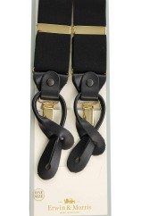 Erwin & Morris made in UK  Plain Black 2 in 1 Luxury  38mm Guilt & Leather Y back 3 Clip Braces