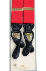 Erwin & Morris made in UK  Plain Red 2 in 1 Luxury 38mm Guilt & Leather Y Back 3 Clip Braces
