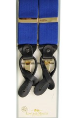 Erwin & Morris made in UK  Plain Royal Blue 2 in 1 Luxury 38mm Guilt & Leather Y Back 3 Clip Braces