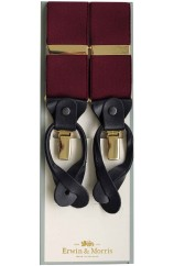 Erwin & Morris made in UK  Plain Wine 2 in 1 Luxury 38mm Guilt & Leather Y Back 3 Clip Braces