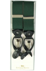 Erwin & Morris made in UK  Plain Green 2 in 1 Luxury 38mm Guilt & Leather Y back 3 Clip Braces