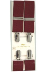Erwin & Morris made in UK  Wine 35mm Nickel Feathered 4 Clip Braces