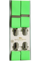 Erwin & Morris made in UK  Bright Lime 35mm Nickel Feathered 4 Clip Braces