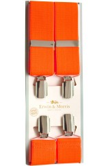 Erwin & Morris made in UK  Bright Orange 35mm Nickel Feathered 4 Clip Braces