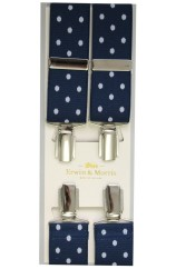 Erwin & Morris made in UK  Navy Polka Dot Nickel Feathered 4 Clip Braces