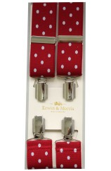 Erwin & Morris made in UK Red Polka Dot Nickel Feathered 4 Clip Braces