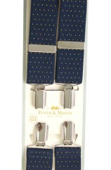 Erwin & Morris made in UK  Navy Blue & Gold pin dot 35mm Nickel Feathered 4 Clip Braces