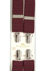 Erwin & Morris made in UK  Wine & White pin dot 35mm Nickel Feathered 4 Clip Braces